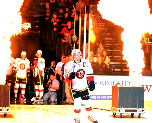Aaron Johnson was named the first ever captain of the Stockton Heat. This is the third consecutive season he's served as a team captain. (PHOTO BY ASVITT PHOTOGRAPHY)