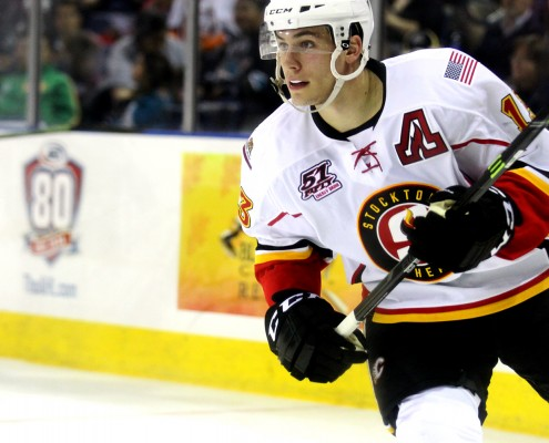 Turner Elson had the primary assist on the first goal in Stockton Heat history.