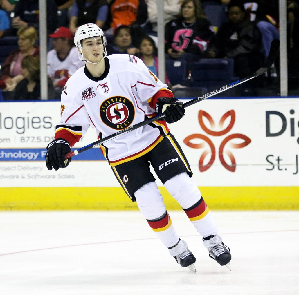 Jankowski played four seasons with the Providence College Friars, winning a NCAA Championship alongside Jon Gillies in 2014-15.  The first round pick of the Flames in 2012 turned pro with the  Heat in April last season (PHOTO BY JACK LIMA).