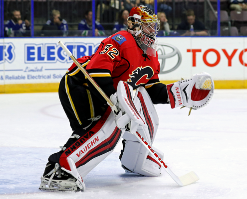 Goaltender Jon Gillies stopped 22 of the 23 shots he faced Friday night against the Winnipeg Jets to earn the win in his only appearance at the 2016 Young Stars Classic. (PHOTO BY JACK LIMA)