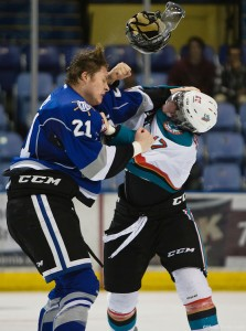 Austin Carroll (left) led the Victoria Royals in goals, penalty minutes and plus/minus in 2014-15